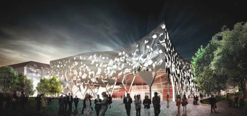 Verhindert: Der Konzertsaal im Finanzgarten (Bild: Konzertsaal München e.V.; Entwurf: M. Krempels)